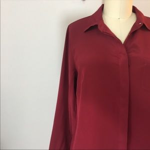 J.Crew • 100% Silk Crimson Red Blouse